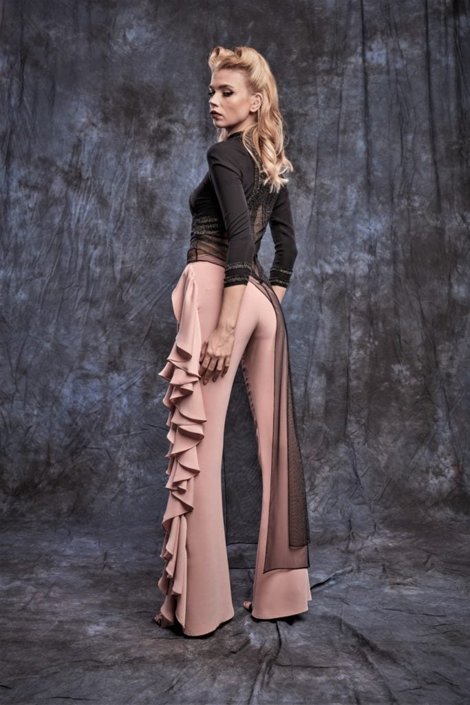 Pants with side ruffles