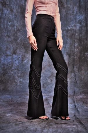 High waist flared trousers with pockets