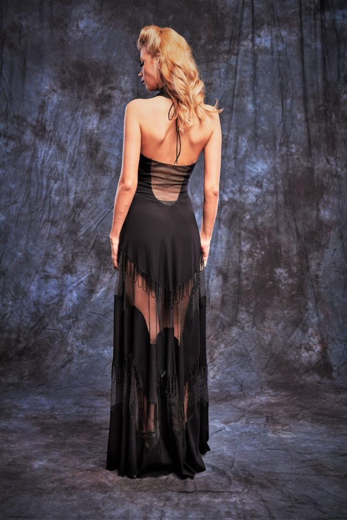 Evening long Dress with transparent inserts