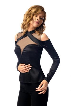 Black Silky Top with naked shoulders silky blouse