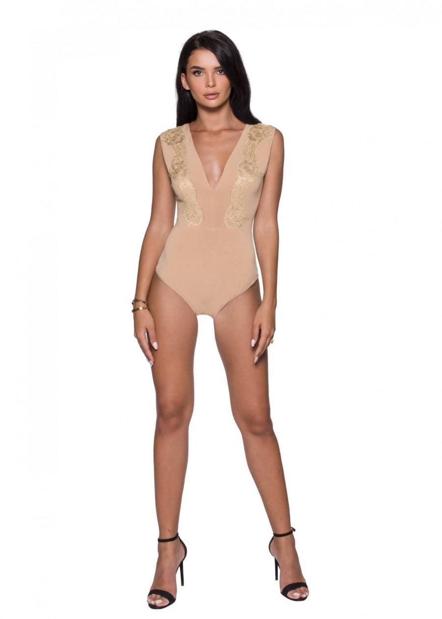 Lace Outlined Sleeveless Bodysuit Nude Bodysuit