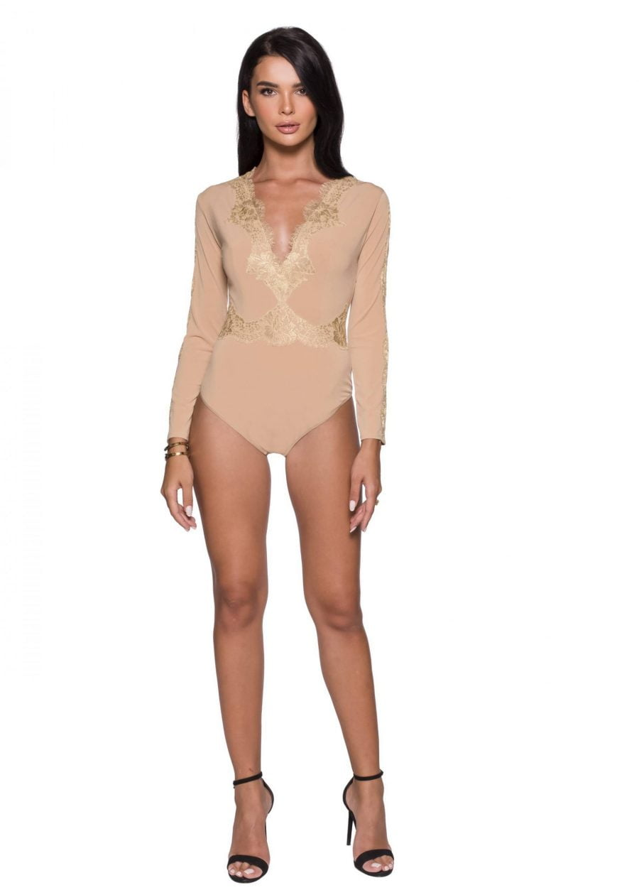 Long Sleeves Lace Outlined Bodysuit