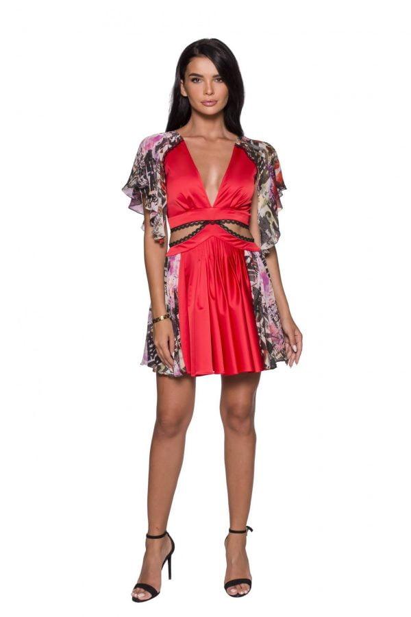 Cutouts Flared Midi Party Dress