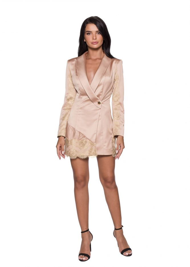 Lace Embellished Blazer-Dress