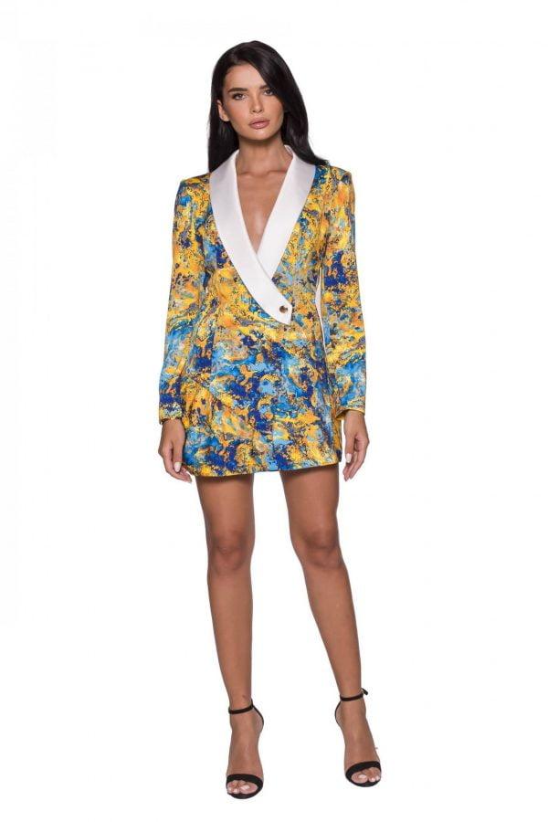 Color Printed Blazer Dress jacket