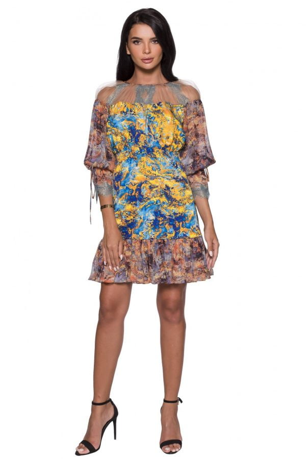 Colorful print A-line dress with Sleeves