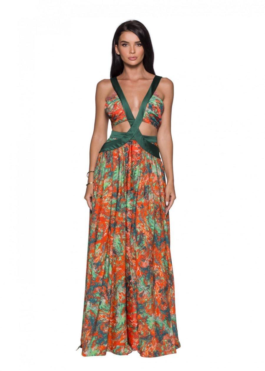 cutouts Evening Sexy Silk Dress