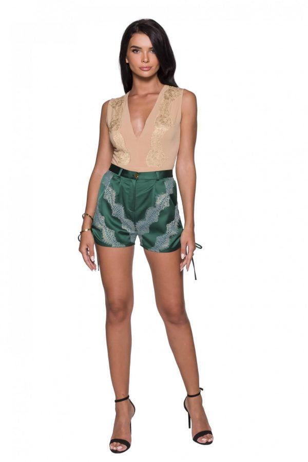 Side Pleated Shorts pants with Lace