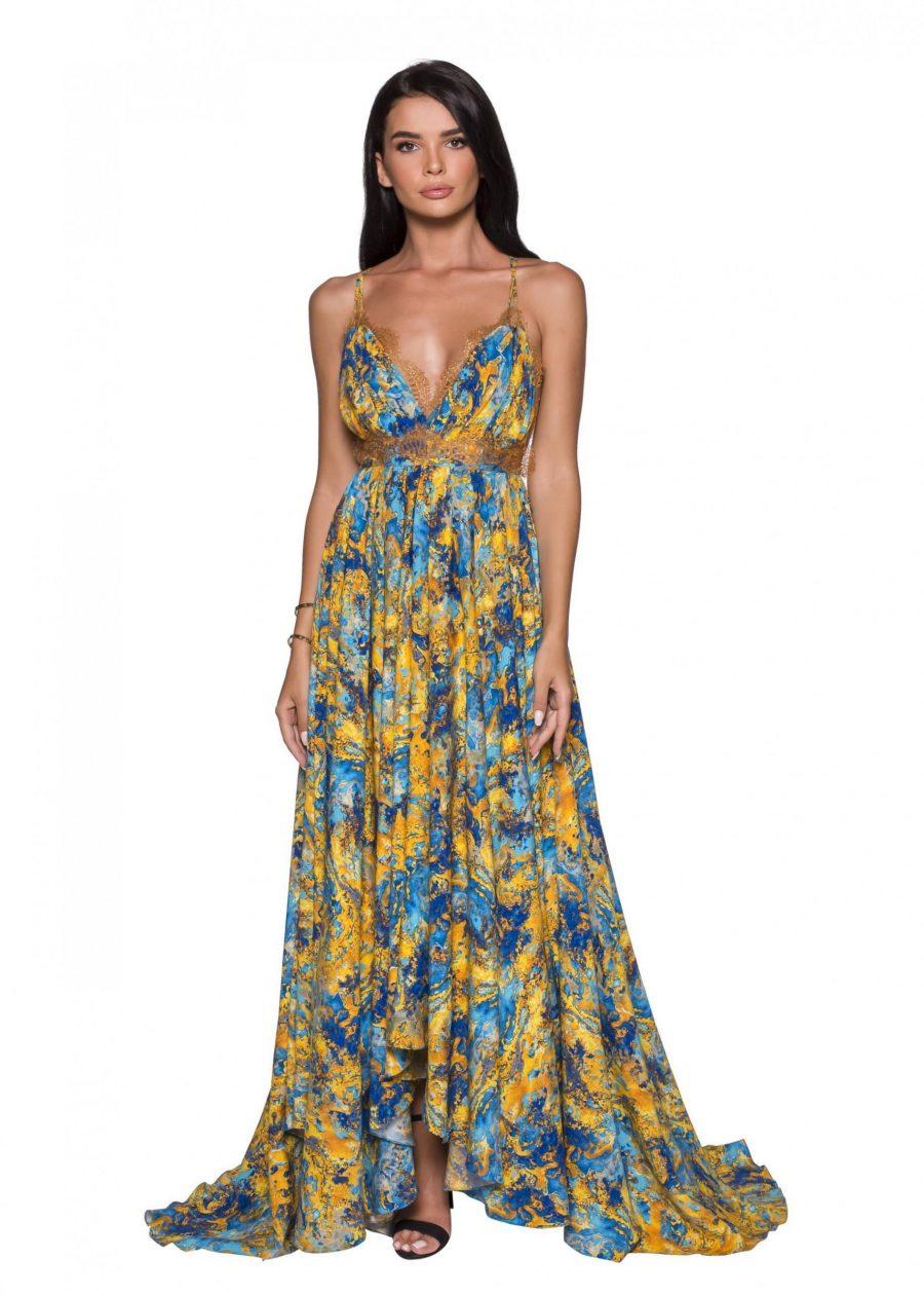 Deep V-Neck Backless Evening silk Dress
