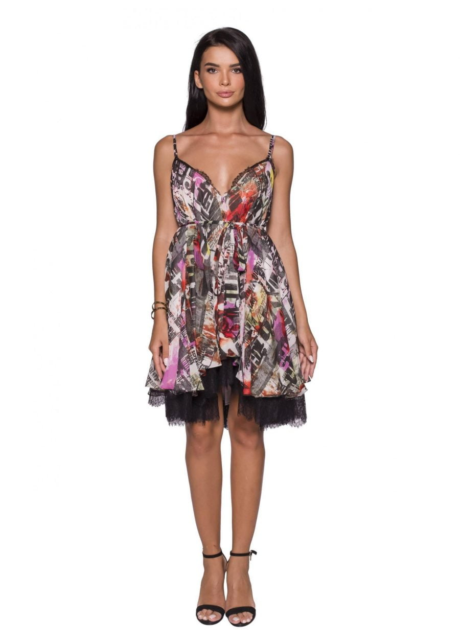 Deep V-Neck Multicolor Printed Midi Dress Silk Baby Doll Dress