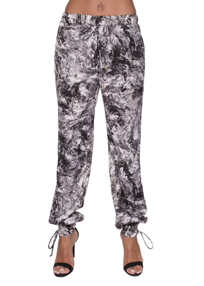 Black and White Print Sweat Pants silk pants