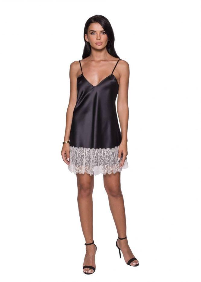 Black Slip Dress with Lace trims silk Cami Dress