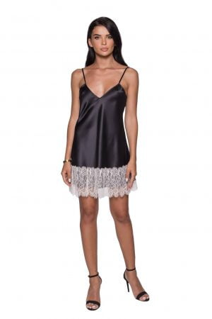 Black Slip Dress with Lace trims silk Cami Dress