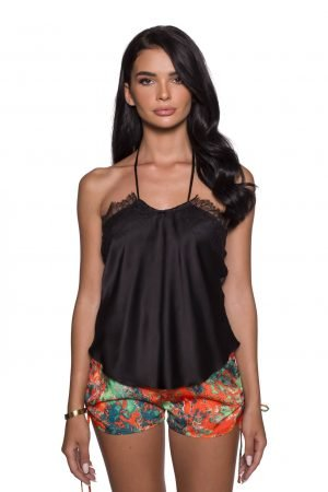 Black Halter Silk Top