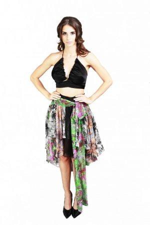 Asymmetrical Strips Skirt
