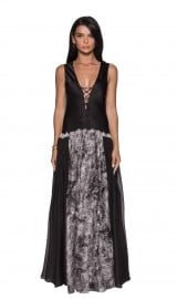 Double High Slit Silk Evening Dress