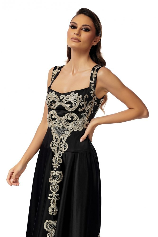 Black Evening Dress with Gold Embroidery BY PassionByD