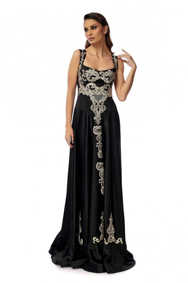 Black Evening Dress with Gold Embroidery