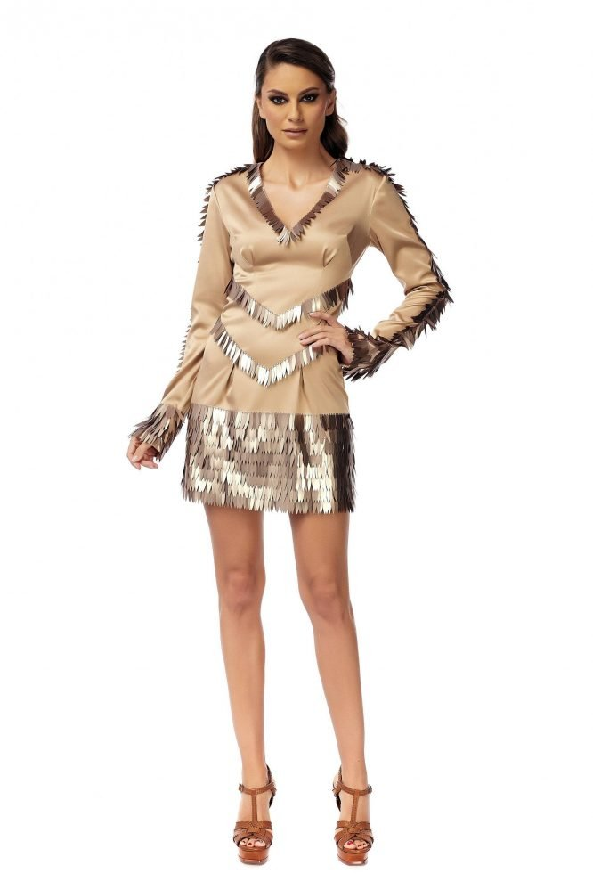Bronze Party Dress with long sequins