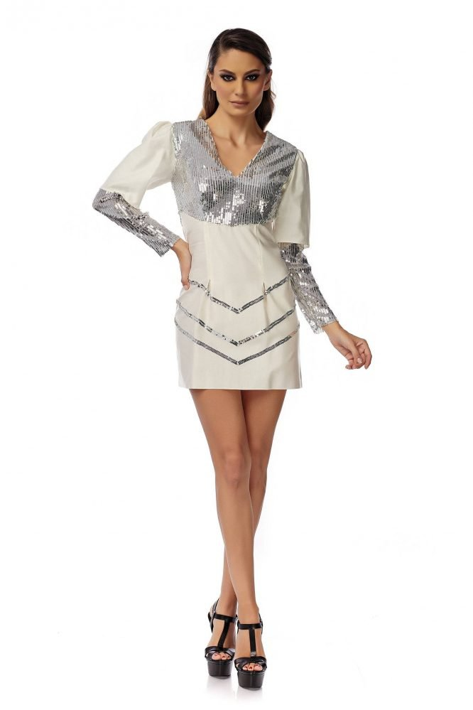 White Silky Dress with Sequins