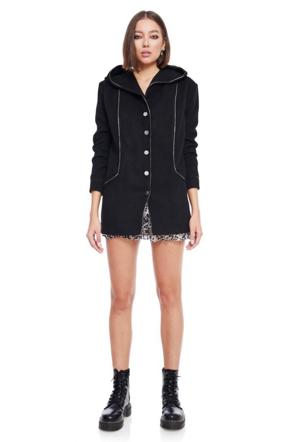 Wool Short Hooded Coat with pockets