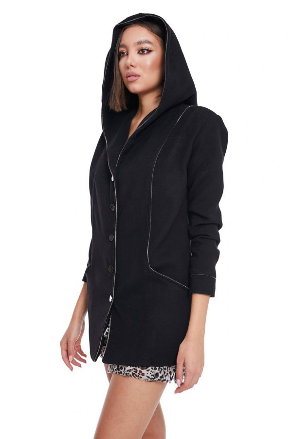 short Hooded Coat with pockets