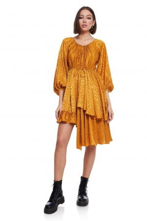 Asymmetric Wrapped Dress with Long flared Sleeves