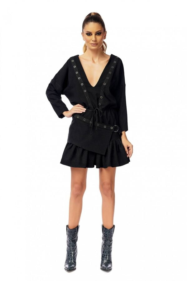 Black dress with long sleeves and studs