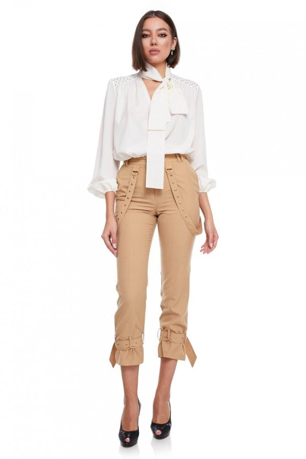 Relaxed fit Long Pants buckle gathered ankle Passion By D