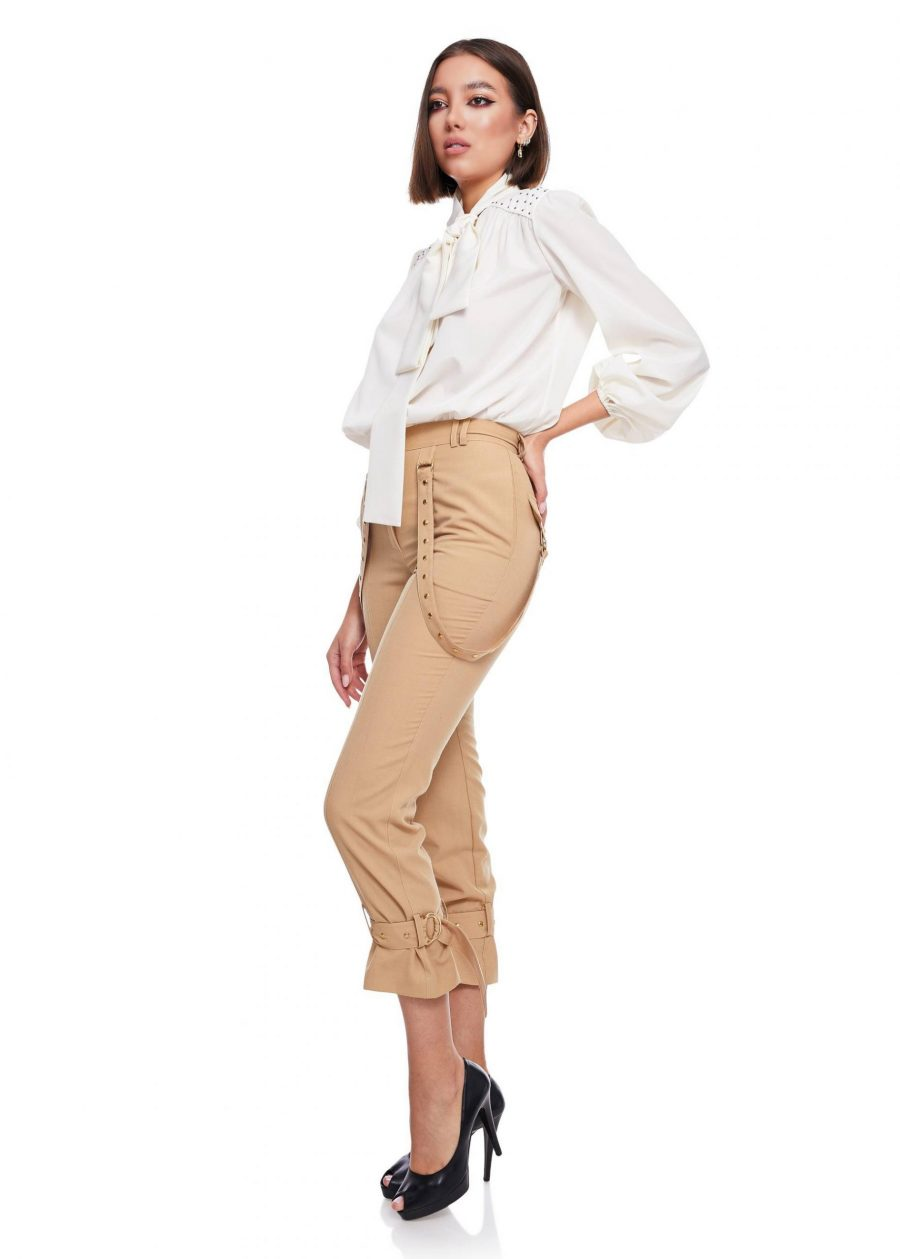 Relaxed fit Long Pants buckle gathered ankle Women's Designer Fashion