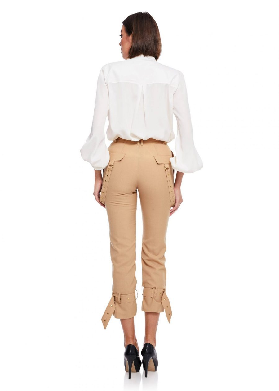 Relaxed fit Long Pants buckle gathered ankle Passion By D Product