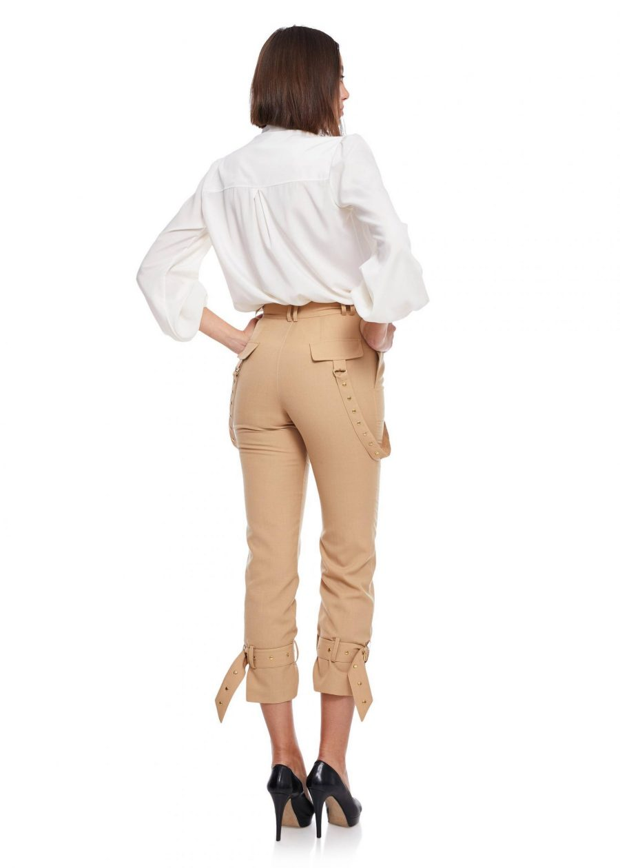 Relaxed fit Long Pants buckle gathered ankle