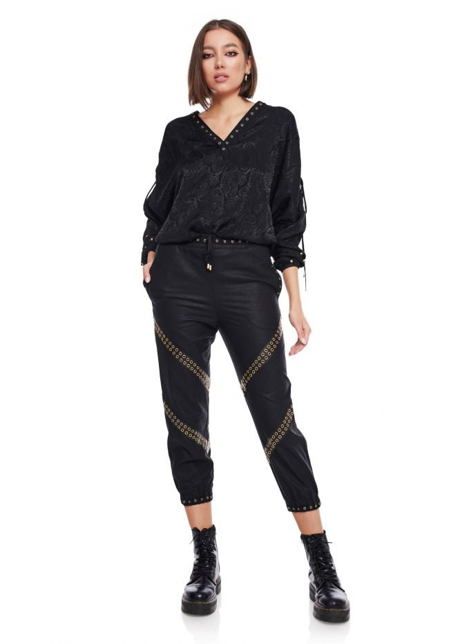 Gathered Ankle Pants with gold loop