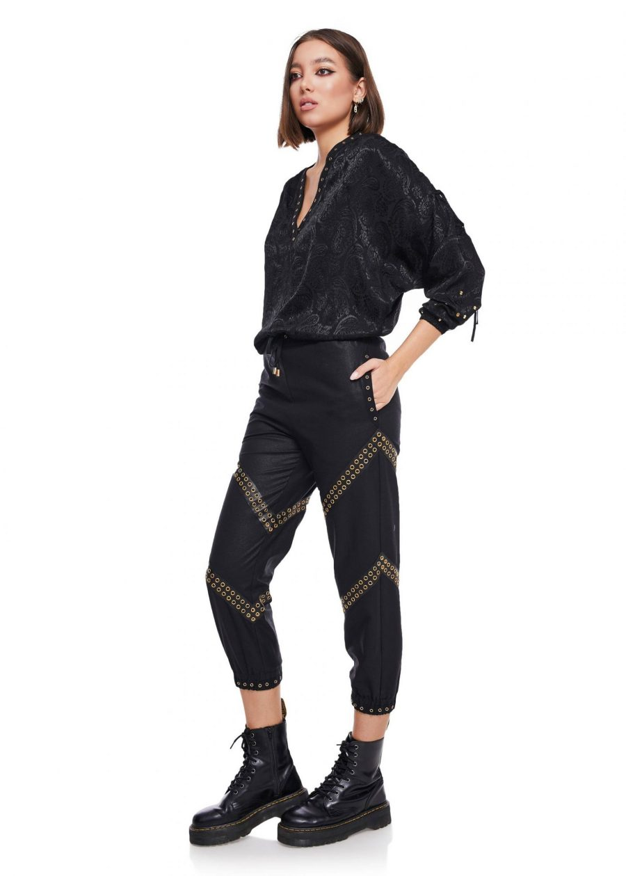 Gathered Ankle Pants with gold loops