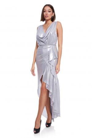 Evening Asymmetric silver silk dress