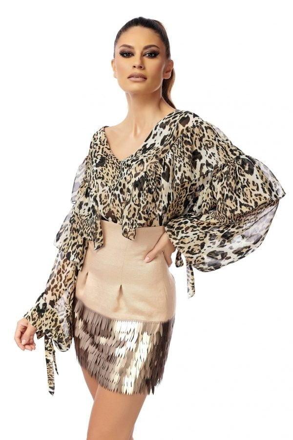 High waist skirt with sequins