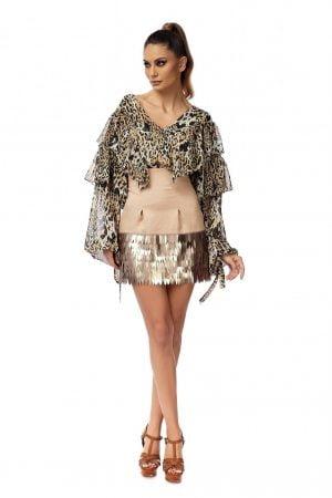 High waist skirt with long sequins