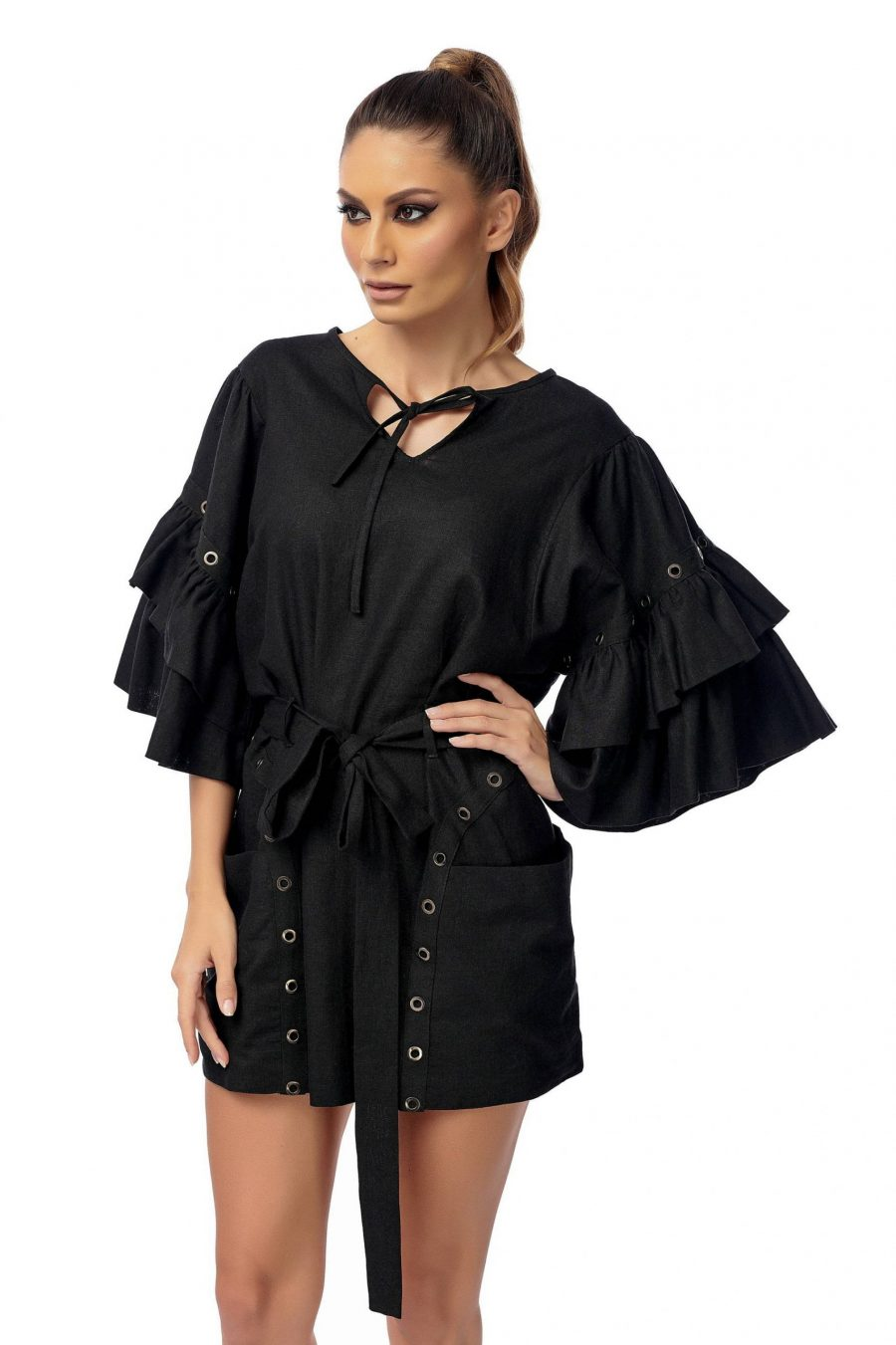 Linen Dress with flared sleeves