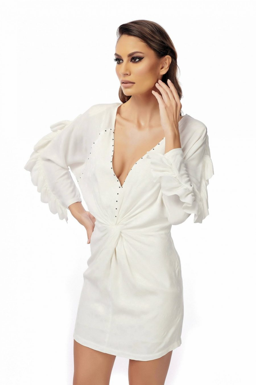 White Short Dress with Sleeves