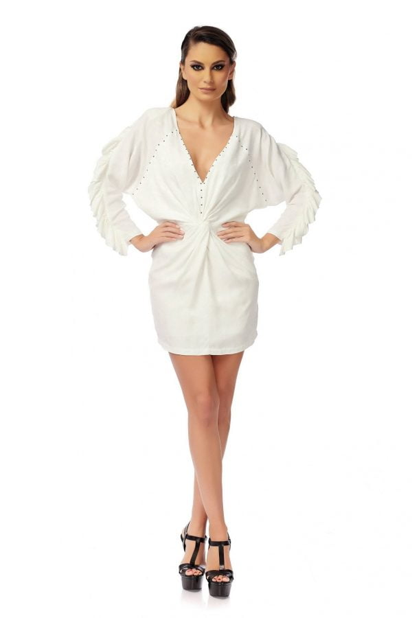White Short Dress with Flounce Long Sleeves