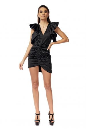 Black Short Dress with Puffy Sleeves