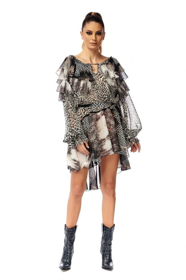 Wide Flounces Short Dress Animal Print