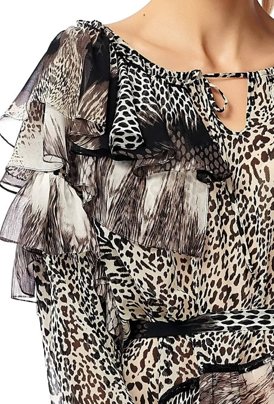Flounces Short Dress Animal Print