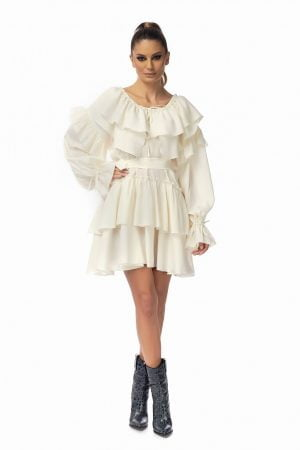 White Wide Short Silk Dress