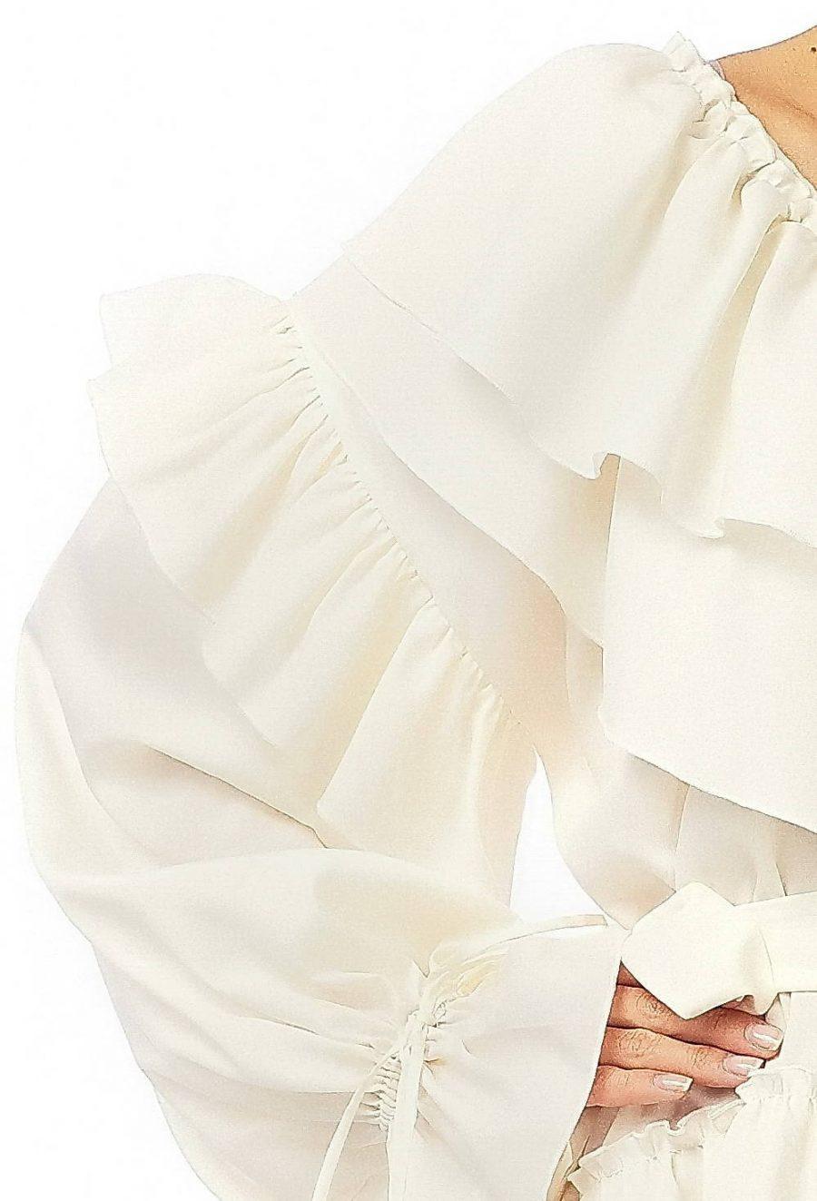 White Wide Silk Dress