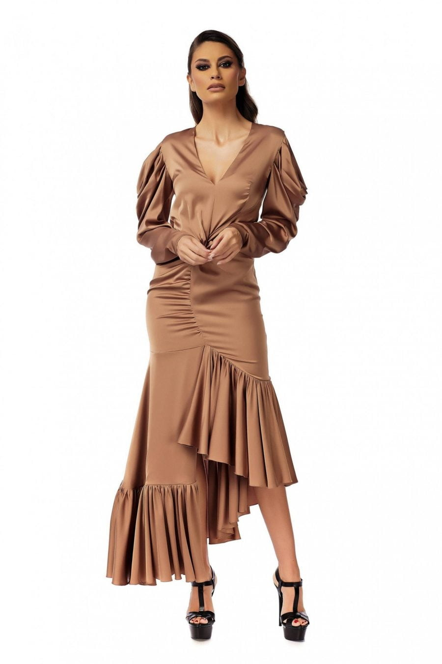 Evening Bronze Dress with Long Sleeves