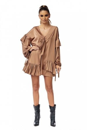 Flare Short Bronze Dress with Neck Scarf