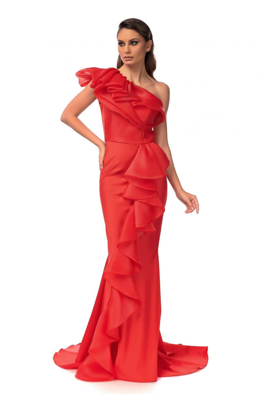 Red Mermaid Flounces Dress
