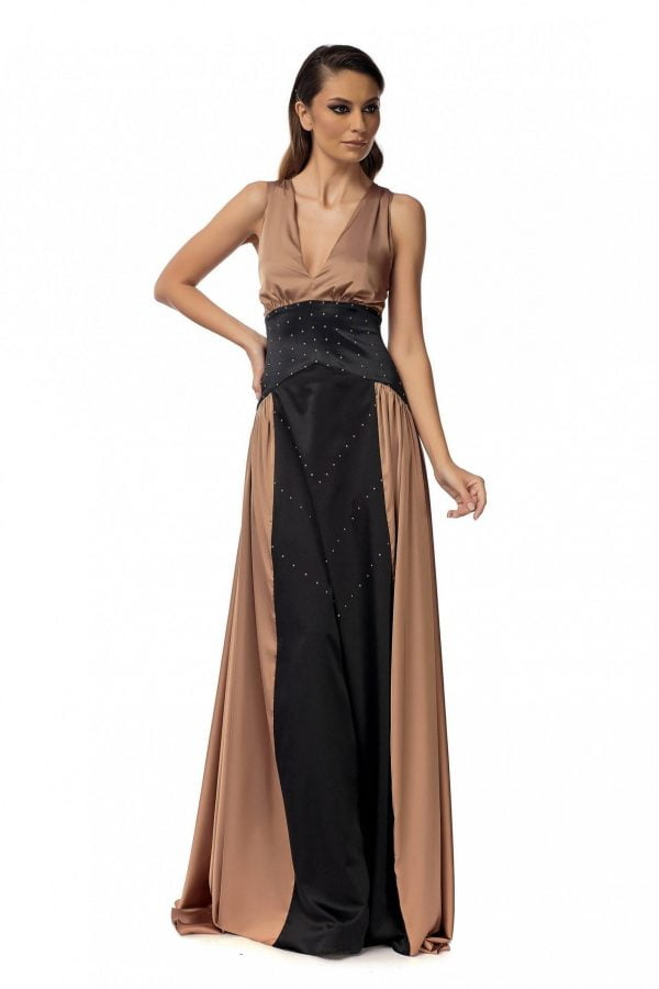 Evening Bronze Dress with Swarovski pearls
