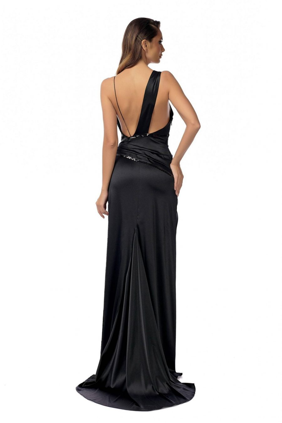 Elegant Sequins Insertion Silk Dress